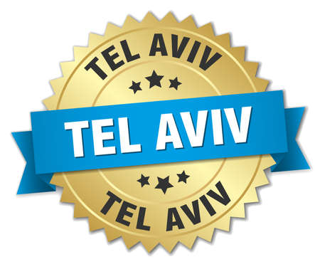 tel: Tel Aviv round golden badge with blue ribbon