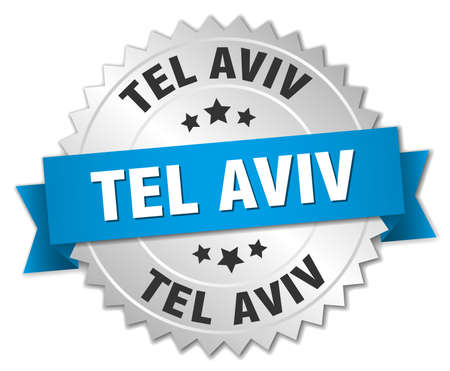 tel: Tel Aviv round silver badge with blue ribbon