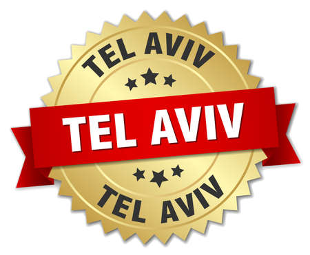 tel aviv: Tel Aviv round golden badge with red ribbon