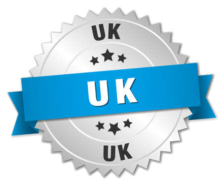 silver ribbon: uk round silver badge with blue ribbon Illustration