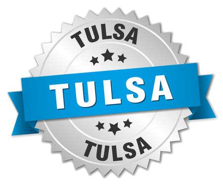 tulsa: Tulsa round silver badge with blue ribbon Illustration
