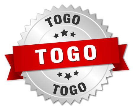 togo: Togo  round silver badge with red ribbon
