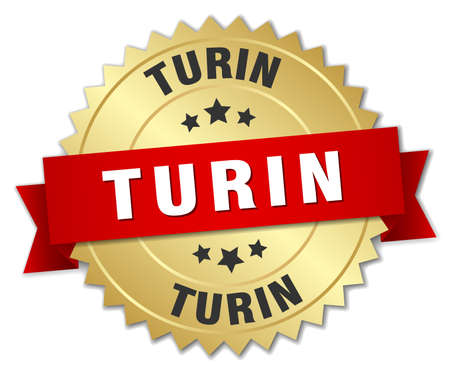 turin: Turin round golden badge with red ribbon Illustration