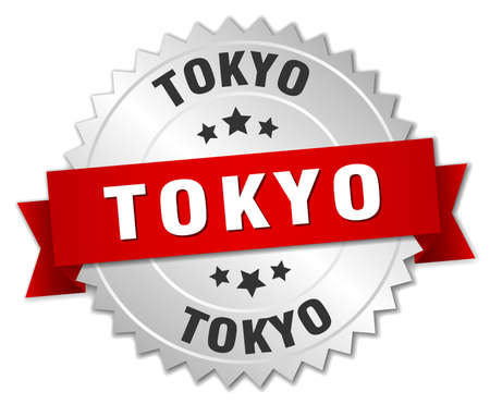 tokyo: Tokyo  round silver badge with red ribbon