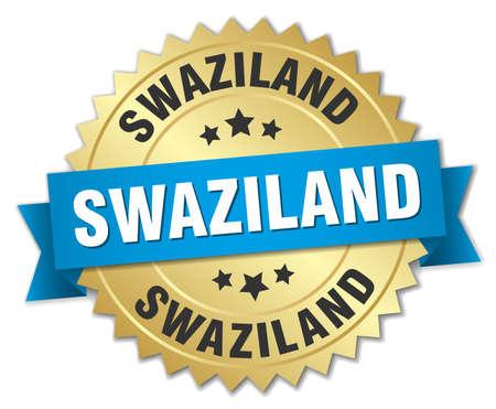 swaziland: Swaziland round golden badge with blue ribbon Illustration