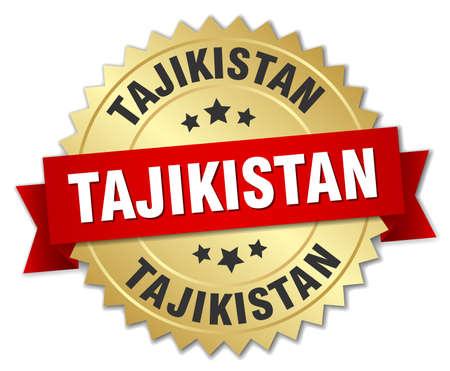 tajikistan: Tajikistan round golden badge with red ribbon Illustration