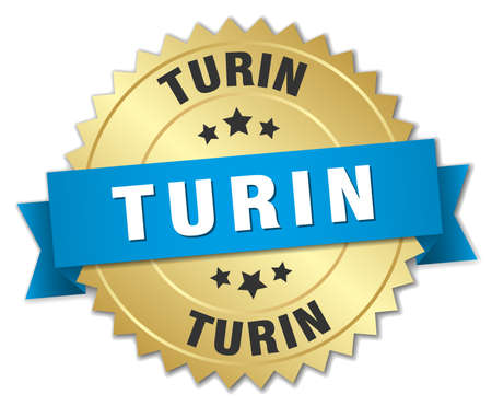 turin: Turin round golden badge with blue ribbon