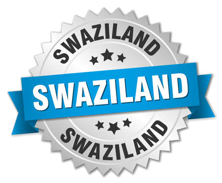 swaziland: Swaziland round silver badge with blue ribbon