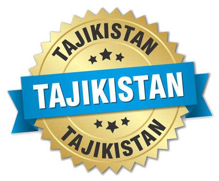 tajikistan: Tajikistan round golden badge with blue ribbon Illustration