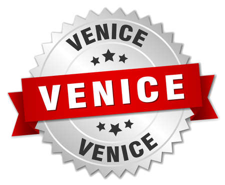 silver ribbon: Venice  round silver badge with red ribbon Illustration