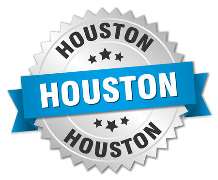 silver ribbon: Houston round silver badge with blue ribbon