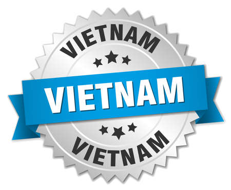 silver ribbon: Vietnam round silver badge with blue ribbon