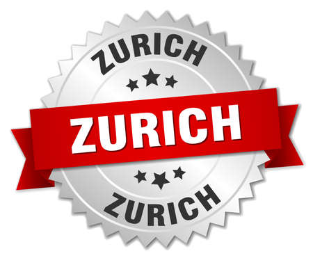 silver ribbon: Zurich  round silver badge with red ribbon