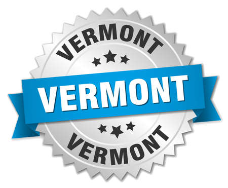 silvered: Vermont round silver badge with blue ribbon