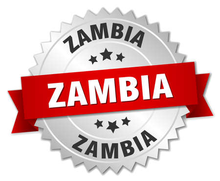 silver ribbon: Zambia  round silver badge with red ribbon