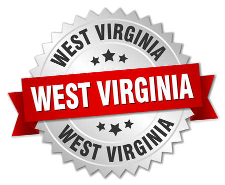 3d virginia: West Virginia round silver badge with red ribbon Illustration