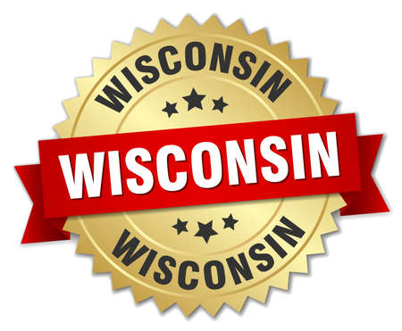 wisconsin: Wisconsin round golden badge with red ribbon