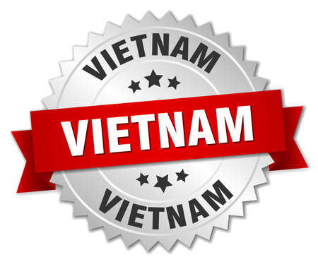 silvered: Vietnam  round silver badge with red ribbon