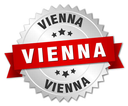 silver ribbon: Vienna round silver badge with red ribbon