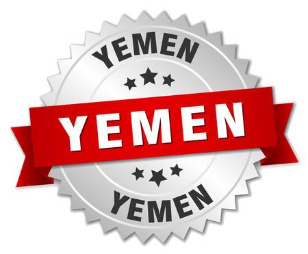 yemen: Yemen round silver badge with red ribbon Illustration