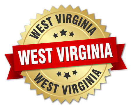 3d virginia: West Virginia round golden badge with red ribbon Illustration