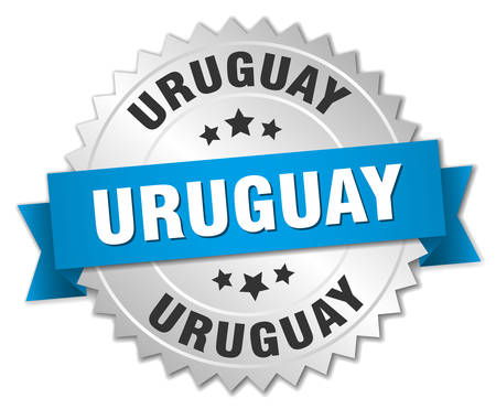 silvered: Uruguay round silver badge with blue ribbon