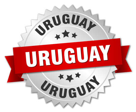 silvered: Uruguay  round silver badge with red ribbon