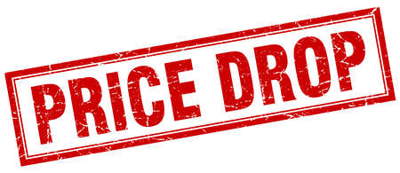 price drop: price drop red grunge square stamp on white
