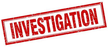 investigations: investigation red grunge square stamp on white Illustration