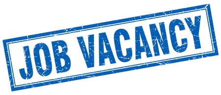 job vacancy: job vacancy blue grunge square stamp on white