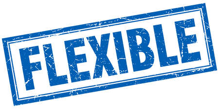 flexible: flexible blue grunge square stamp on white