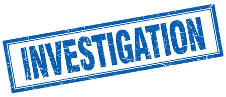 investigating: investigation blue grunge square stamp on white