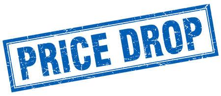 price drop: price drop blue grunge square stamp on white