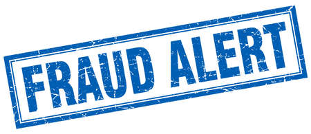 swindle: fraud alert blue grunge square stamp on white
