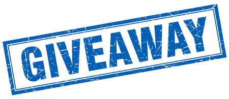 giveaway: giveaway blue grunge square stamp on white Illustration