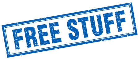 stuff: free stuff blue grunge square stamp on white