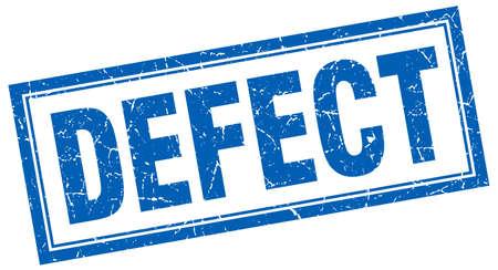 defect: defect blue grunge square stamp on white Illustration