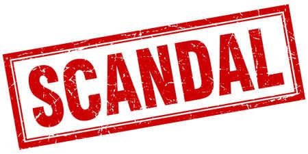 scandal: scandal red grunge square stamp on white
