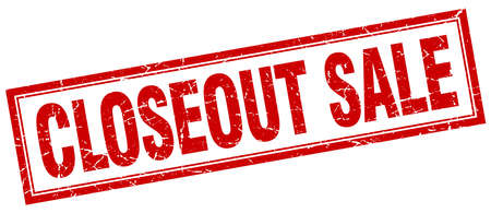 closeout: closeout sale red grunge square stamp on white