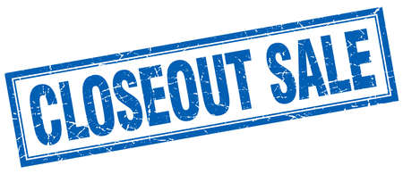 closeout: closeout sale blue grunge square stamp on white