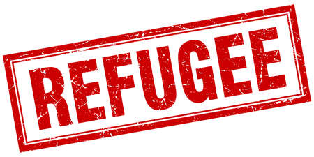 refugee: refugee red grunge square stamp on white