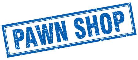 pawn shop: pawn shop blue grunge square stamp on white Illustration