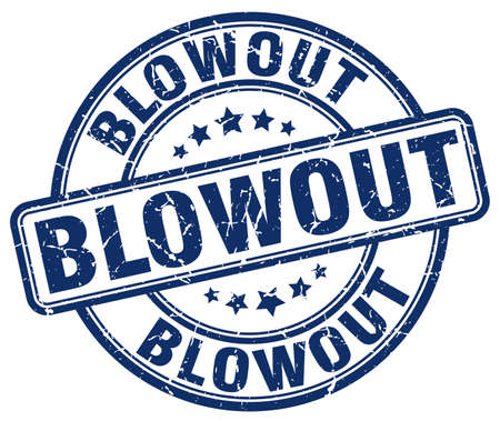 blowout: blowout blue grunge round vintage rubber stamp