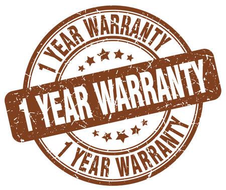 one year warranty: 1 year warranty brown grunge round vintage rubber stamp Illustration