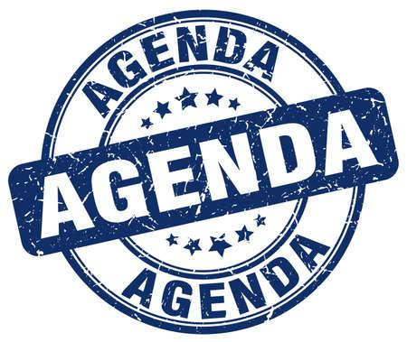 agenda: agenda blue grunge round vintage rubber stamp