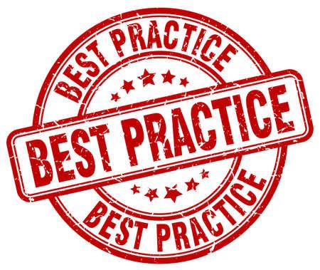best practices: best practice red grunge round vintage rubber stamp Illustration