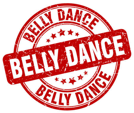belly dance: belly dance red grunge round vintage rubber stamp