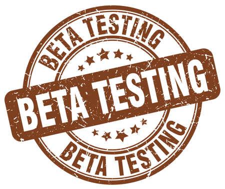 beta: beta testing brown grunge round vintage rubber stamp Illustration