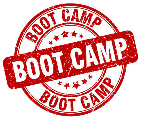 boot camp: boot camp red grunge round vintage rubber stamp