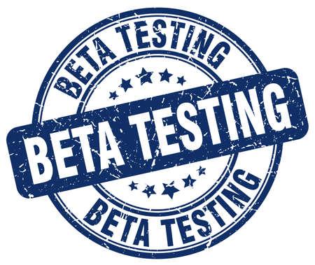 beta: beta testing blue grunge round vintage rubber stamp